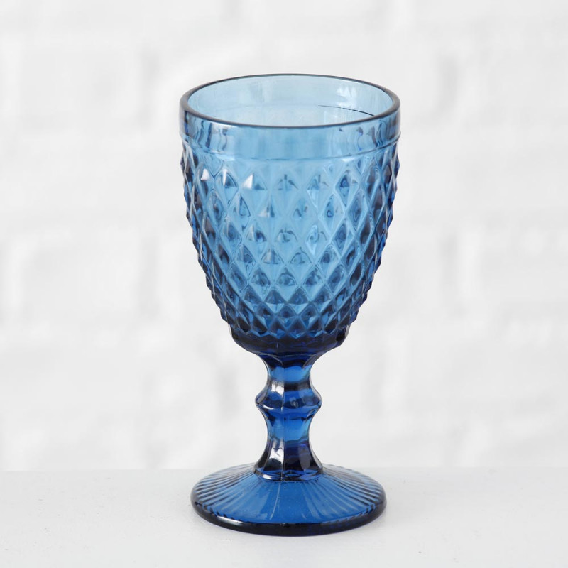 Weinglas Milano blau Rauten Muster durchgefärbtes Glas 250 ml Trinkglas Höhe 17 cm