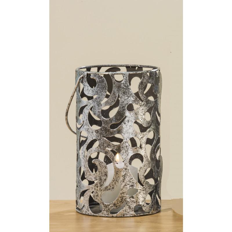 Windlicht Cahaja Antik silber aus Metall 22 cm groß mit Henkel fuer eine Kerze oder Teelicht
