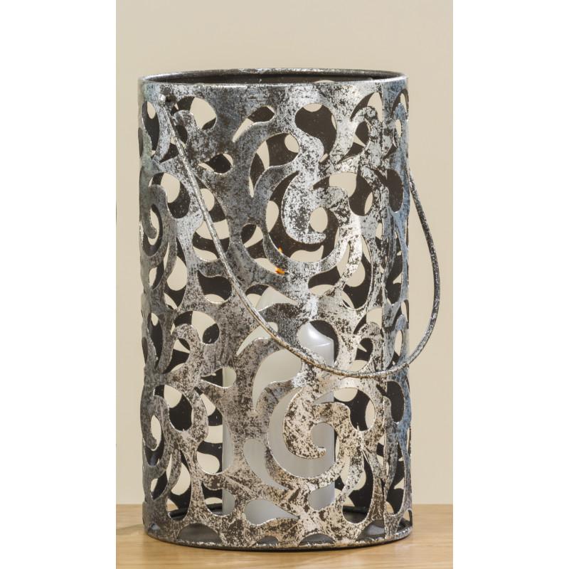 Windlicht Cahaja Antik silber aus Metall 28 cm groß Laterne mit Henkel für eine Kerze oder Teelicht