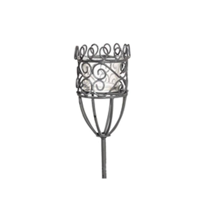 Windlicht Gartenstab Greta aus Metall mit Glas Einsatz für Kerze 100 cm