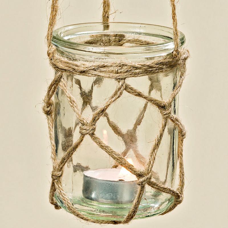 Windlicht Hänger Hörnum aus Glas mit Kordel zum Aufhängen Maritime Deko