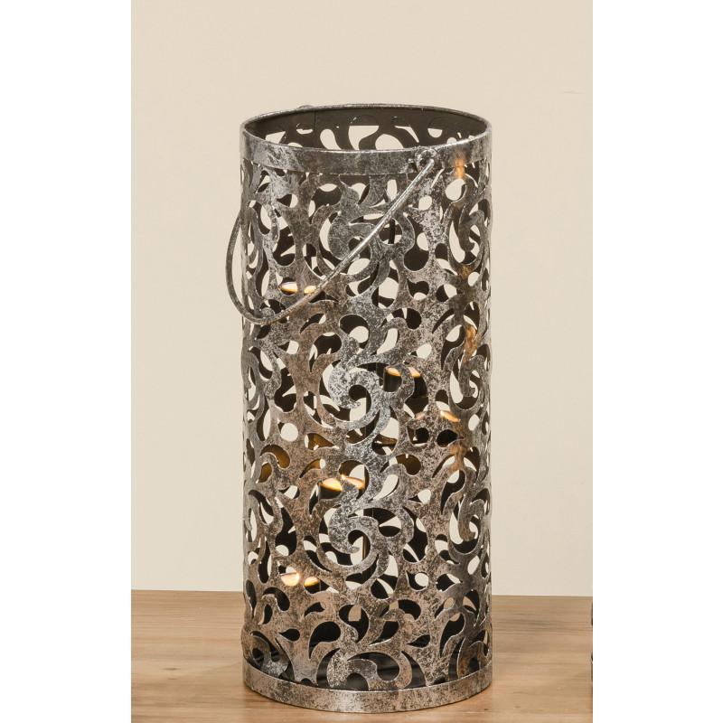 Windlicht Laterne Cahaja Antik silber aus Metall 50 cm hoch mit Henkel
