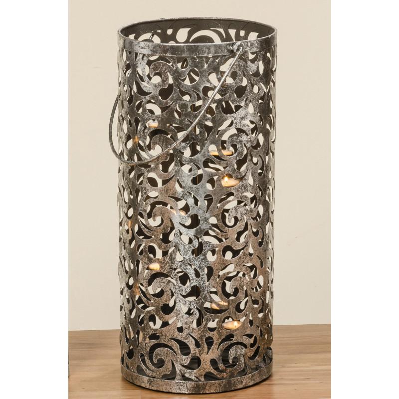 Windlicht Laterne Cahaja Antik silber aus Metall 60 cm hoch mit Henkel Hochzeitsdeko Weihnachtsdeko