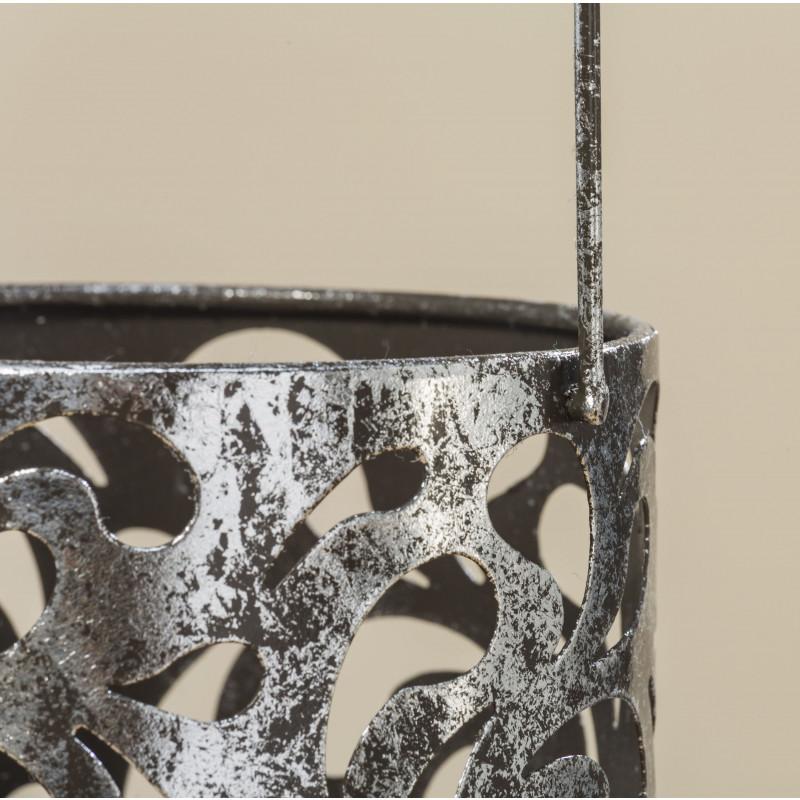 Windlicht Laterne Cahaja Antik silber aus Metall Hochzeitsdeko Weihnachtsdekoration Muster und Henkel Detailfoto