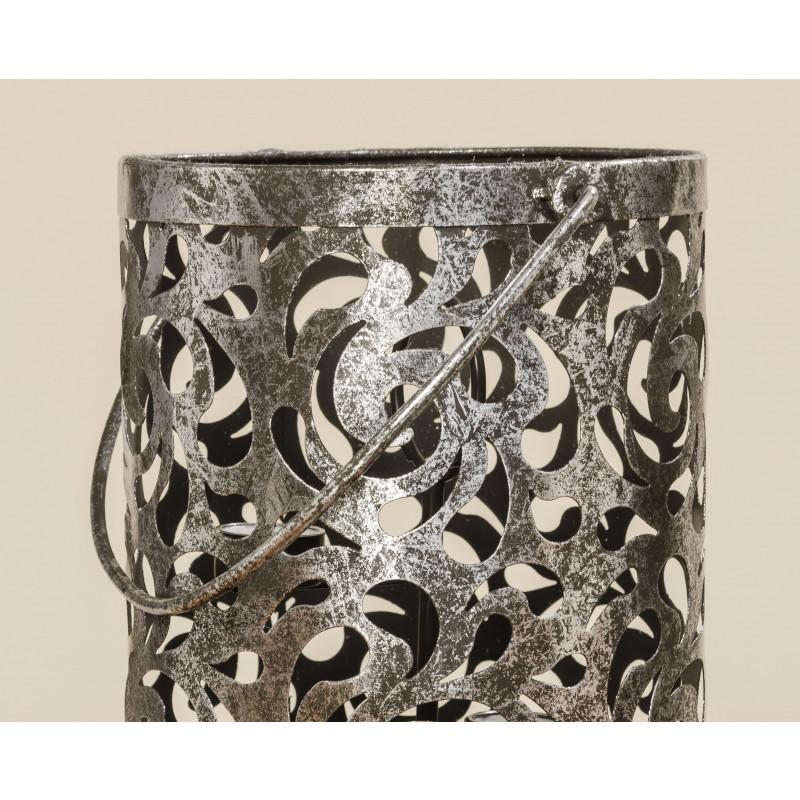 Windlicht Laterne Cahaja Vintage silber Metall Hochzeitsdekoration Weihnachtsdeko nostalgisch Muster und Henkel im Detail