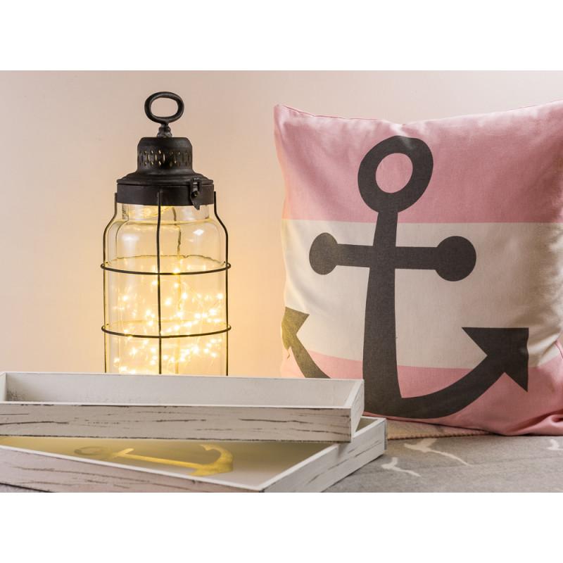 Windlicht Laterne Odin 44 cm hoch mit Deko Tablett Anker aus Holz weiß 15 cm und 30 Krasilnikoff Anker Kissen in rosa und Pad Wendedecke Möwe