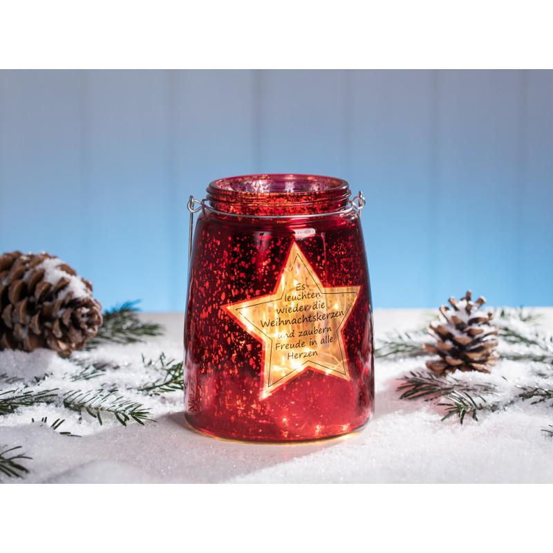 Windlicht Stern in rot glänzend aus Glas mit Spruch zu Weihnachten