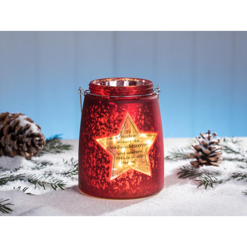 Windlicht Stern in rot matt satiniert aus Glas mit Spruch zu Weihnachten