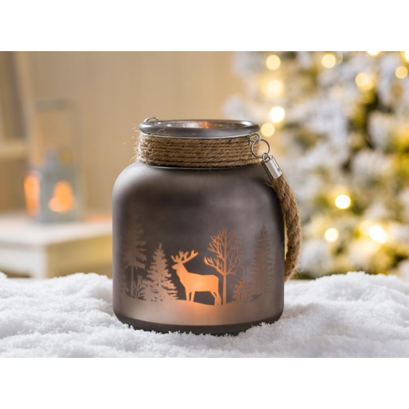 windlicht hirsch grau winterwald 16 cm hier kaufen. Black Bedroom Furniture Sets. Home Design Ideas