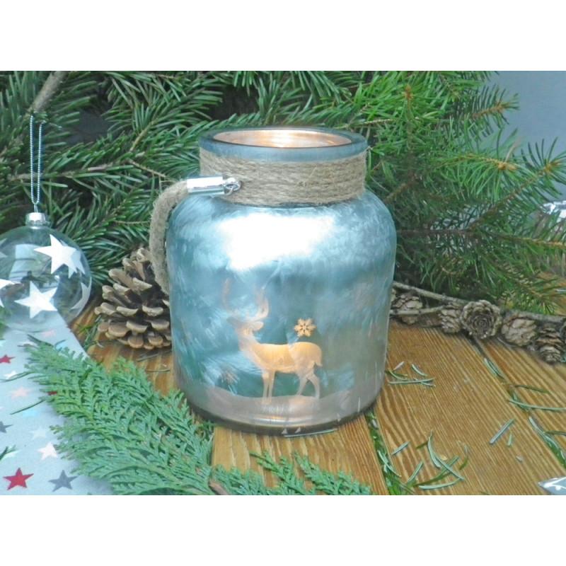 Windlicht winterwald petrol blau aus glas mit hirsch und for Deko aus glas