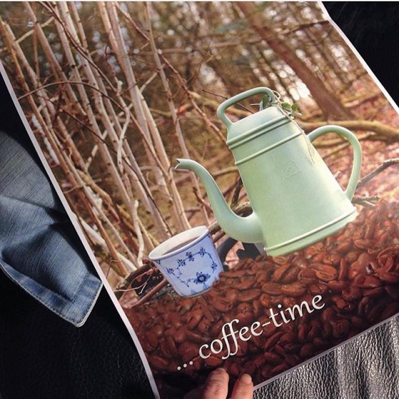 Xala Coffee Time Lungo Gießkanne im Nostalgie Kaffekannen Design grün