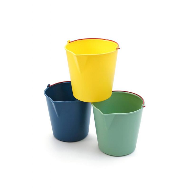 Xala Drop Eimer für 13 Liter blau grün und gelb roter Henkel