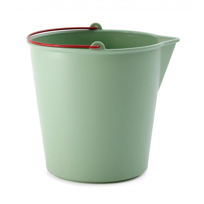 Xala Drop Eimer für 13 Liter grün mit rotem Henkel aus Kunststoff