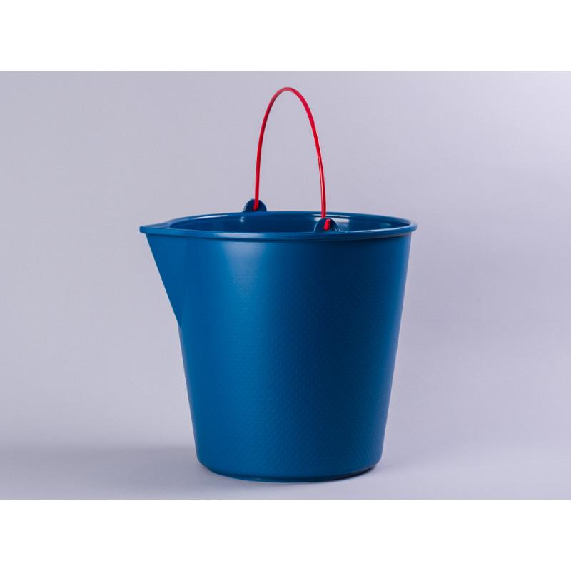 Xala Eimer Drop Blau aus Kunststoff mit Ausgießer roter Metall Henkel Gartendeko