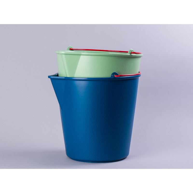 Xala Eimer Drop Grün und Blau aus Kunststoff mit Ausgießer roter Metall Henkel Gartendeko