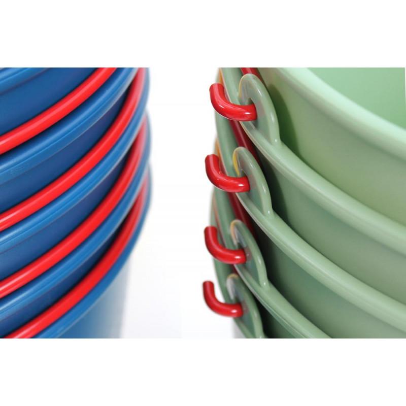 Xala Eimer Drop in blau und grün aus Kunststoff mit Metall Henkel rot sehr stabil