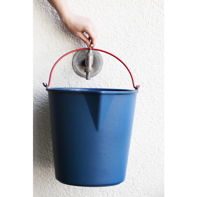 Xala Wassereimer blau aus Kunststoff mit rotem Henkel aus Metall Fassungsvermögen 13 Liter