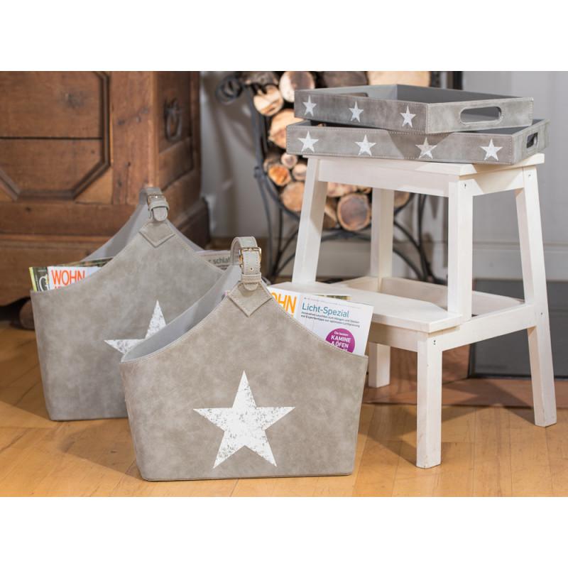 zeitungskorb jimmy mit stern grau hier online kaufen. Black Bedroom Furniture Sets. Home Design Ideas