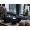 A Simple Mess Teeservice Asia anthrazit grau Punkten Streifen Teekanne und Teetasse aus Keramik Geschirr Kollektion