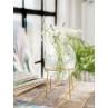 A simple Mess Vase Ronda Glas mit Ständer aus Metall in Gold Blumenvase mit Gravur