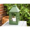 A2 Living Allwetter Laterne Mini Grün wetterfeste Outdoor Laterne verzinkt und pulverbeschichtet rostfrei 34 cm hoch skandinavisch schlicht Dekoration
