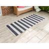 AU Maison Outdoor Teppich Streifen schwarz weiß Badematte gestreift 80x200 lang Läufer für Balkon und draußen waschbar für aus PET recycelt Kunststoff