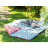 AU Maison Picknickdecke 140x180 gross Rosa Punkte Türkis Baumwolle Wachstuch Chrysler Super Dot Aqua Sky Raspberry Peachy Pink Outdoor im Garten