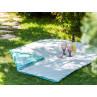 AU Maison Picknickdecke 140x180 gross Türkis Grün Weiss Punkte Blumen Baumwolle Wachstuch Yasmin Dots Dusty Turquoise Outdoor im Garten