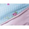 AU Maison Picknickdecke XL Krabbeldecke 140x180 gross Türkis Punkte Blume Streifen Rosa Baumwolle Wachstuch Aqua Sky Woodrose wasserabweisend Detail