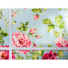 AU Maison Wachstuch Sophia Aqua Sky Tischdecke Stoff Meterware aus Baumwolle beschichtet türkis mit Blumen 140 cm breit zum selber nähen