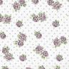 AU Maison Wachstuch Victoria White Tischdecke Stoff aus Baumwolle beschichtet weiß mit Punkten und Blumen 140 cm