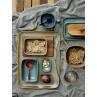 Bloomingville Becher AIME Kaffeebecher aus Keramik in braun und blau Frühstück
