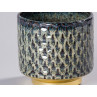 Bloomingville Blumentopf Blau mit Gold Sockel Design Keramik Übertopf Durchmesser 10 cm modern rustikal Detail