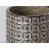 Bloomingville Blumentopf Grau mit Struktur aus Keramik modern rustikal Übertopf Durchmesser 10 cm gerade Form Detail