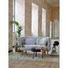 Bloomingville Decke braun weiß Beistelltisch und Pouf