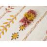 Bloomingville Pouf Baumwolle Creme weiß Bestickt mit Quasten Floral Sitzpuff 45x45x30 cm Detail Stoff