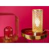 Bloomingville Tischlampe gold rund Beistelltisch rot gold Vase rot Glas und Display Box Regal gold