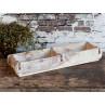 Chic Antique Ziegelform Unika Weiß Doppelt Holz Kiste Zweikammer 56cm lang Backstein Form mit weissem Shabby Chic Anstrich
