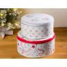 Greengate Dose Carol 2er Set Keksdose aus Metal Rund Vorratsdose ca 17 und 20 cm Durchmesser mit Weihnachtlichen Motiven für ihre Weihnachtsbäckerei