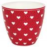 Greengate Latte Cup Becher PENNY Rot mit weissen Herzen GG Produkt Nr STWLATPNY1006