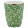 Greengate Latte Cup Fan grün mit Fächer Design Gate Noir Geschirr mit Goldrand