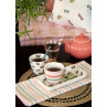 Greengate MAISIE und VALENTINA Weiss mit Schmetterlingen und bunten Streifen Latte Cup Becher mit 300 ml Tischdecke Geschirrtuch aus Baumwolle mit Alice Coral Teekanne und Kissen