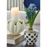 Greengate SAVANNAH Latte Cup Becher Weiss Blau Porzellan Geschirr mit silber Rand und Tulip Schale mit Kerze