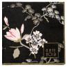 Greengate Servietten Amelie schwarz rosa Blumen Muster Gate Noir Papier Servietten mit Goldrand