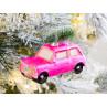 Hänger Auto mit Baum auf Dach rosa pink mattiert aus Glas Weihnachstdeko zum hängen Baumschmuck Weihnachten