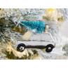Hänger Auto mit Baum auf Dach silber weiß glänzend aus Glas Weihnachstdeko zum hängen Baumschmuck Weihnachten
