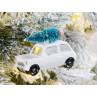 Hänger Auto mit Baum auf Dach weiß mattiert aus Glas Weihnachstdeko zum hängen Baumschmuck Weihnachten