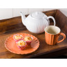 IB Laursen Mynte Kuchenteller mit Cupcakes Tasse in Orange Keramik Geschirr Serie Pumpkin Spice Muffins und Teekanne in weiß Pure White