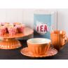 IB Laursen Mynte Tortenplatte mit Cupcakes Müslischale Teller und Becher in Orange Keramik Geschirr Serie Pumpkin Spice Teedose