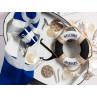 Krasilnikoff Becher Happy Mug und Geschirrtuch Anker dunkelblau auf Deko Tablett Anker Metall oval 56 cm und Girlande mit Anker Motiven und Streifen 180 cm